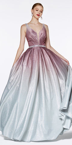 Ombre Glitter Ball Gown Deep Plunge Neckline Beaded Belt
