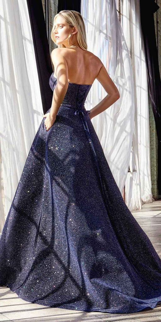 Cinderella Divine CB045 Long Strapless Ball Gown Midnight Blue Glitter Finish Lace Up Corset Back
