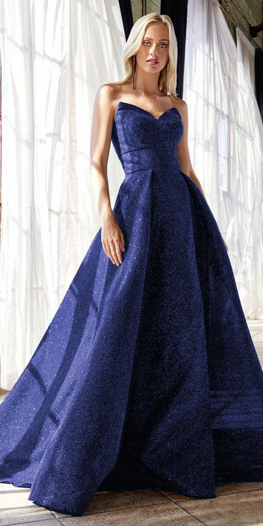 Cinderella Divine CB045 Long Strapless Ball Gown Royal Blue Glitter Finish Lace Up Corset Back