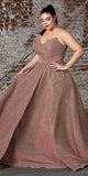 Cinderella Divine CB045 Long Strapless Ball Gown Rose Gold Glitter Finish Lace Up Corset Back