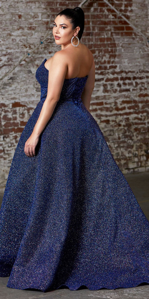 Cinderella Divine CB045 Plus Size Long Strapless Ball Gown Midnight Blue Glitter Finish Lace Up Corset Back