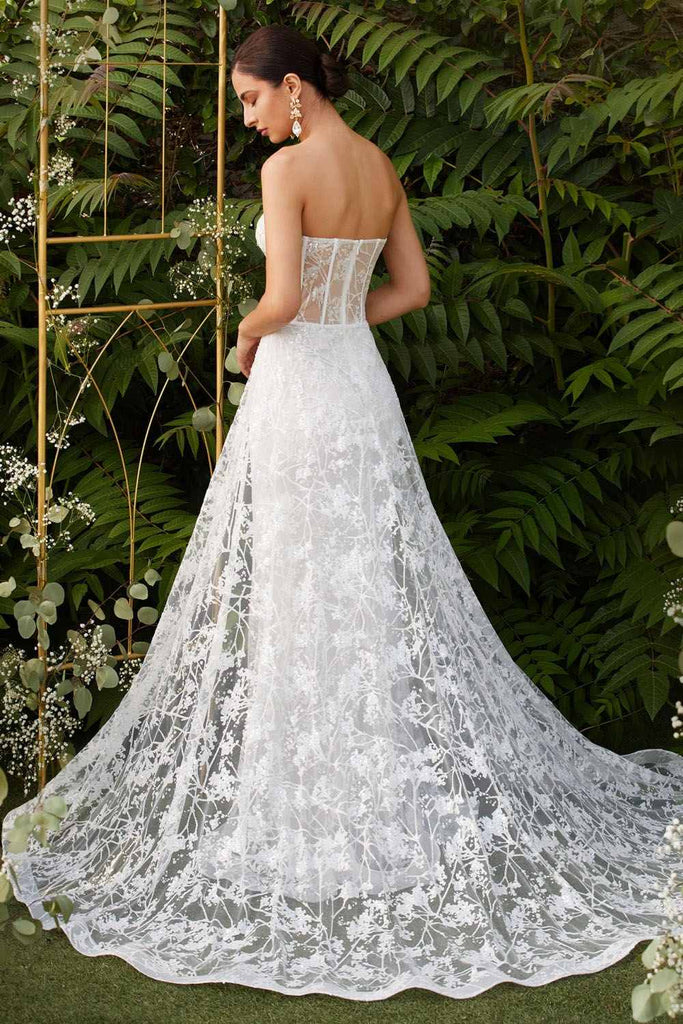Cinderella Divine CB046 Off White Floor Length Strapless Fitted Gown Floral Applique And Glitter Tulle Overskirt