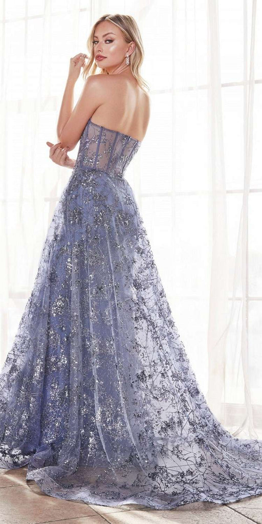 Cinderella Divine CB046 Floor Length Strapless Fitted Gown Floral Applique And Glitter Tulle Overskirt