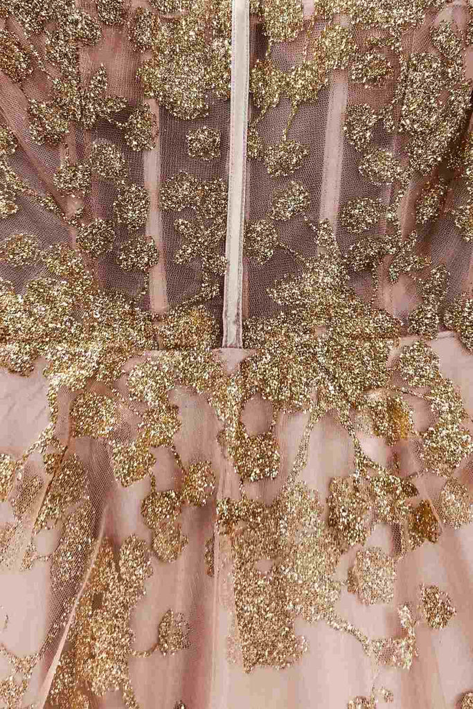 Cinderella Divine CB047 Long A-Line Dress Rose Gold Glitter Corset Bodice Layered Tulle Skirt