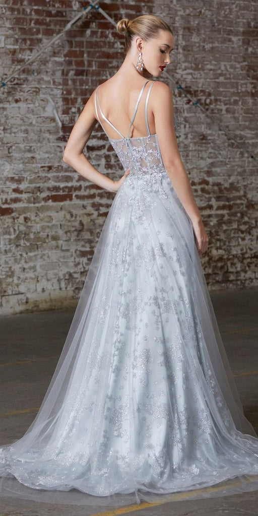 Cinderella Divine CB047 Long A-Line Dress Silver Glitter Corset Bodice Layered Tulle Skirt