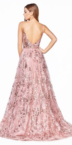 Rose Gold Appliqued Long Prom Dress Deep V-Back