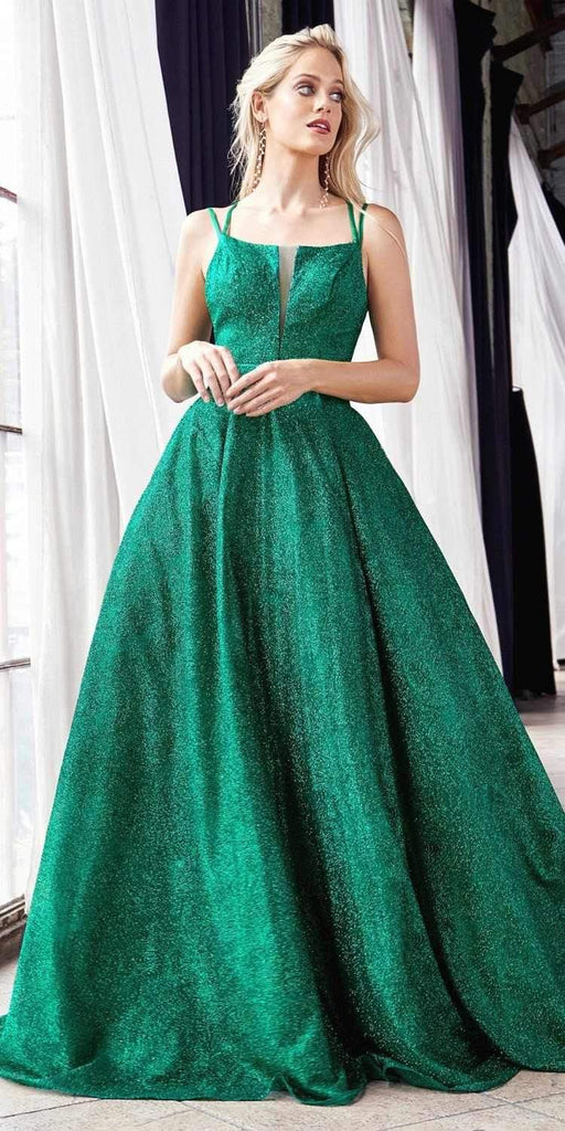 Cinderella Divine CB051 Long Glitter A-Line Ball Gown Emerald Green Criss Cross Back Plunge Straight Neckline