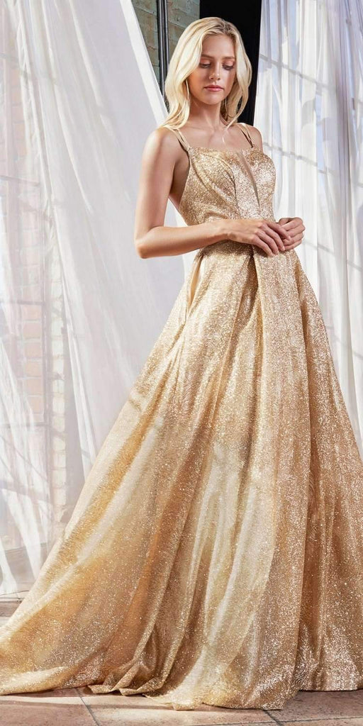 Cinderella Divine CB051 Long Glitter A-Line Ball Gown Gold Criss Cross Back Plunge Straight Neckline