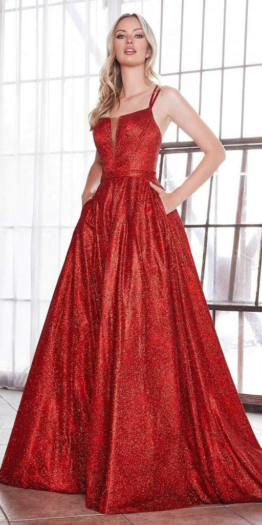 Cinderella Divine CB051 Long Glitter A-Line Ball Gown Red Criss Cross Back Plunge Straight Neckline
