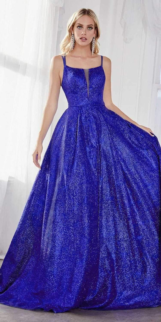 Cinderella Divine CB051 Long Glitter A-Line Ball Gown Royal Blue Criss Cross Back Plunge Straight Neckline