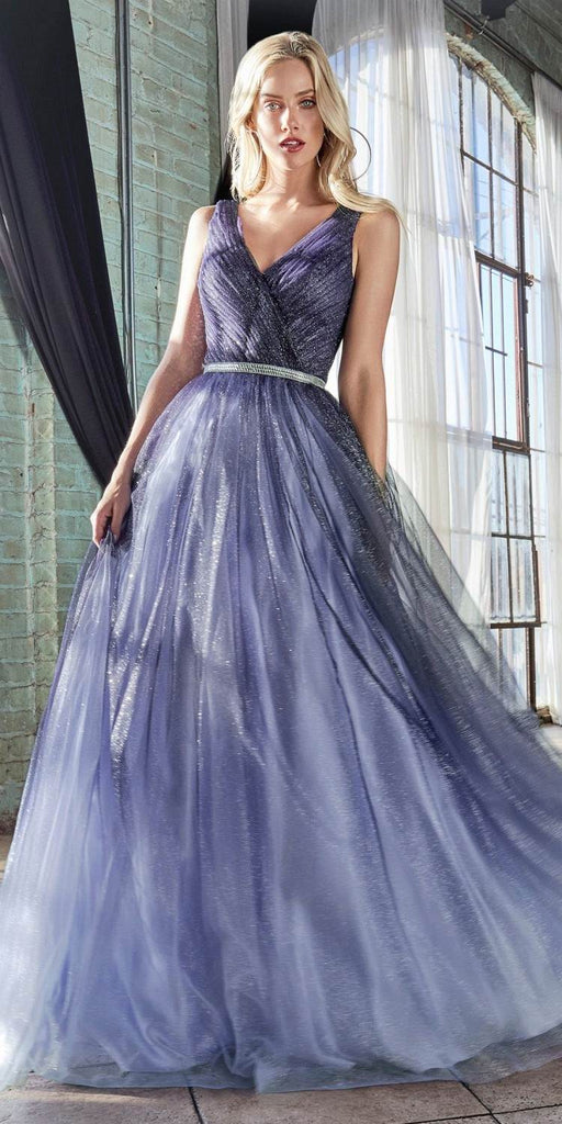 Cinderella Divine CB053 Long Ombre Ball Gown Navy Blue Pleated Bodice Glitter Tulle Finish