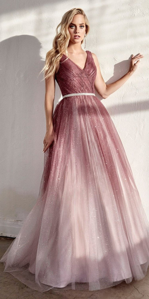 Cinderella Divine CB053 Long Ombre Ball Gown Rouge Pleated Bodice Glitter Tulle Finish