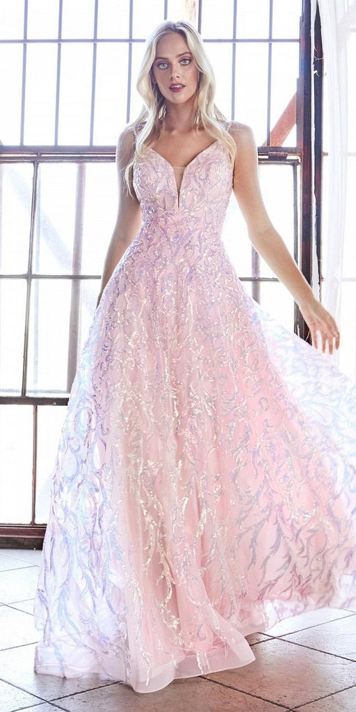 Cinderella Divine CB055 Floor Length A-Line Ball Gown Blush Sequin Scroll Print Beaded Straps