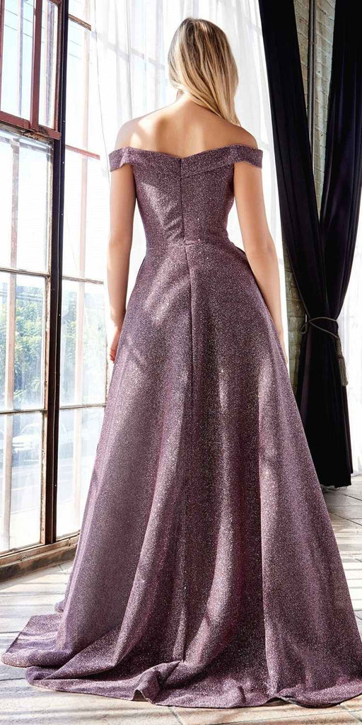 Cinderella Divine CB056 Floor Length Off The Shoulder Glitter Gown Sweetheart Neckline And Pockets