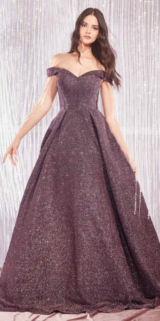 Cinderella Divine CB056 Long Deep Mauve Off Shoulder Glitter Gown Sweetheart Pockets
