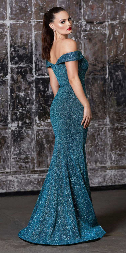 Cinderella Divine CB058 Floor Length Off The Shoulder Fitted Gown Teal Metallic Finish And Belt