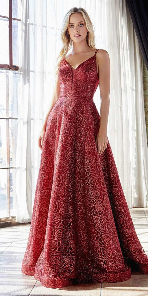 Cinderella Divine CB059 Floor Length Red Ball Gown Rose Glitter Print Plunge Neckline Open V-Back