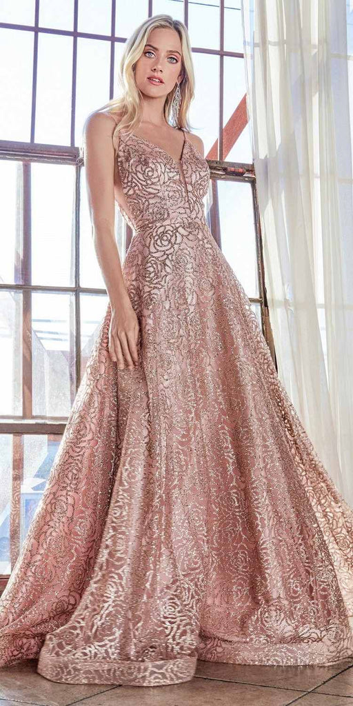 Cinderella Divine CB059 Floor Length Red Rose Gold Gown Rose Glitter Print Plunge Neckline Open V-Back