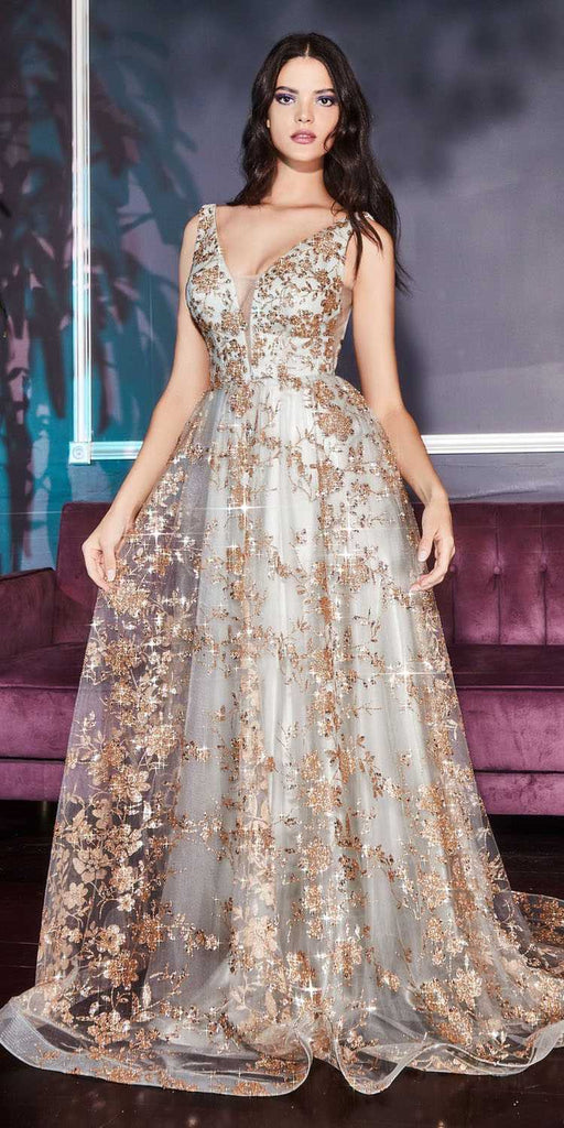 Cinderella Divine CB068 Floor Length Gold/Sage A-Line Formal Glitter Dress V-Neckline