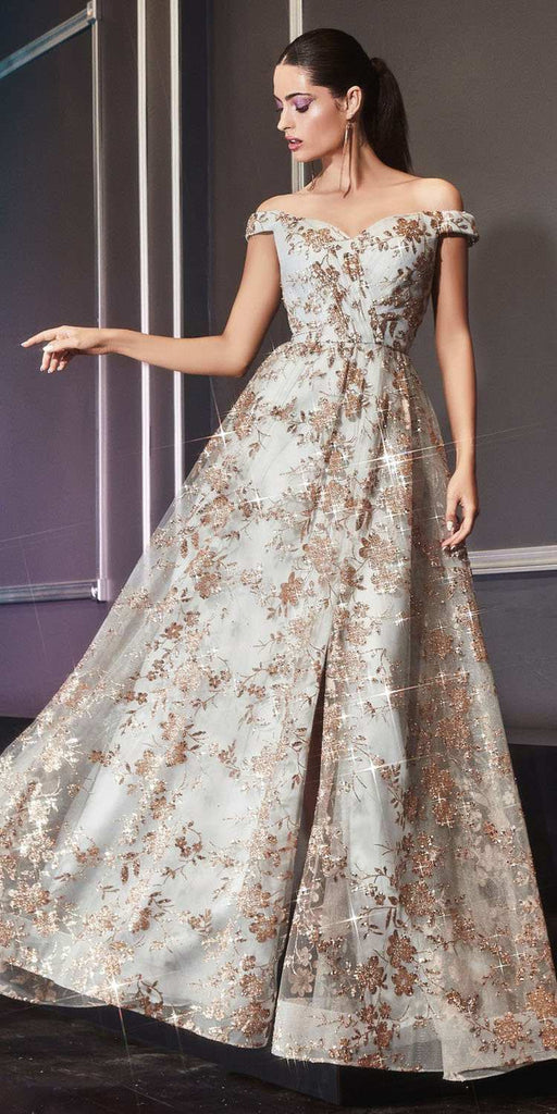 Cinderella Divine CB069 Floor Length A-Line Glitter Print Formal Dress Gold/Mist Off The Shoulder