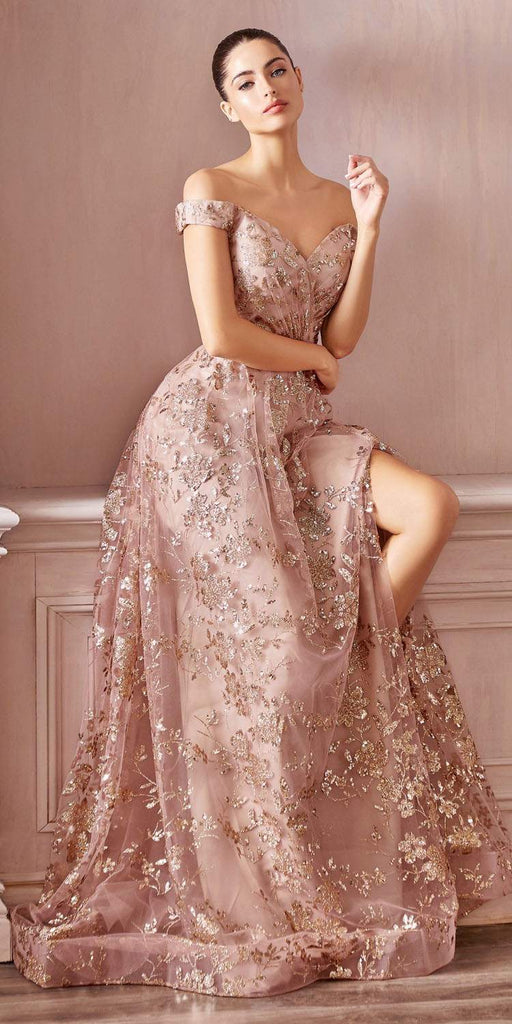 Cinderella Divine CB069 Floor Length A-Line Glitter Print Formal Dress Gold/Mocha Off The Shoulder