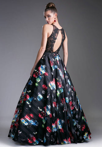 Black/Black Floral Print Illusion Neckline Cut Out Back Prom Gown