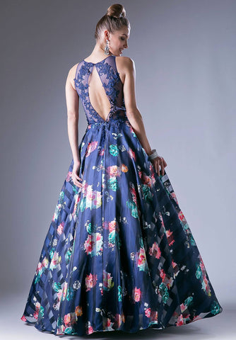 Navy Floral Print Illusion Neckline Cut Out Back Prom Gown