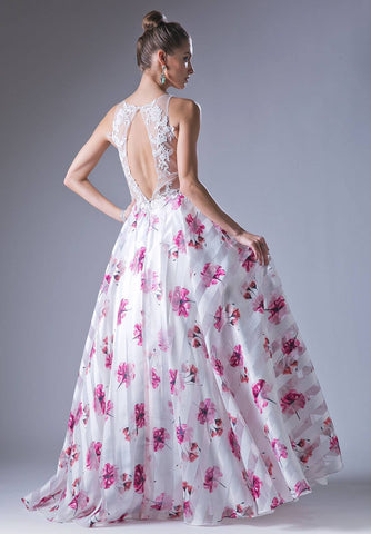 White/Fuchsia Floral Print Illusion Neckline Cut Out Back Prom Gown