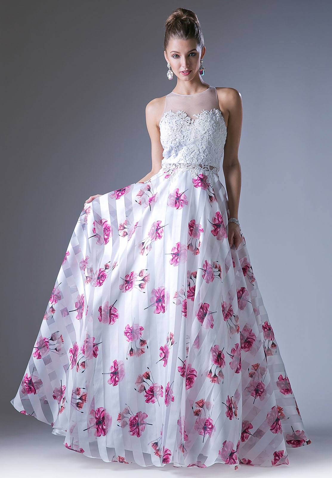 White/Fuchsia Floral Print Illusion Neckline Cut Out Back Prom Gown ...