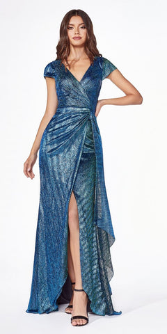 Off-Shoulder with Slit Navy Blue Long Prom Dress