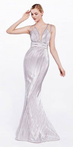 Powder Pink Metallic Mermaid Style Long Prom Dress