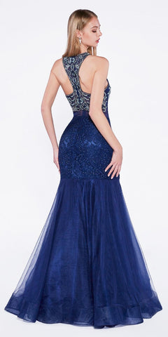 Mock Two-Piece Tiered Mermaid Prom Gown Navy Blue