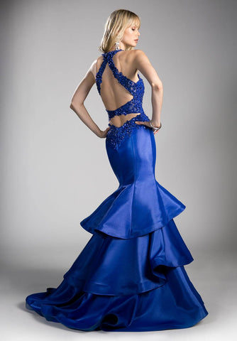 Royal Blue Tiered Mermaid Prom Gown Cut-Out Back