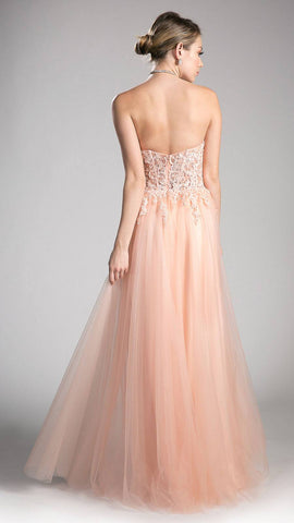 Blush Sweetheart Neck Long Formal Dress Appliqued Bodice