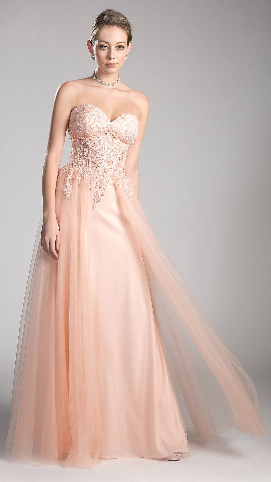 5f54acb0d4c Blush Sweetheart Neck Long Formal Dress Appliqued Bodice. Tap to expand
