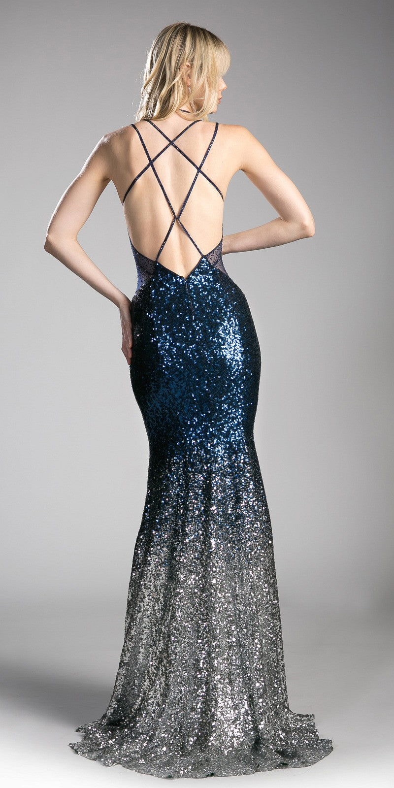Cinderella Divine CC8393 Navy/Silver Sequins Mermaid Evening Gown V ...