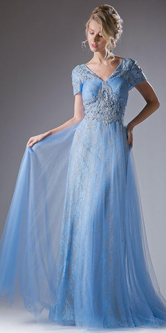 Cinderella Divine CD004 Perry Blue Long Formal Dress Short Sleeves Appliqued Bodice Keyhole Back