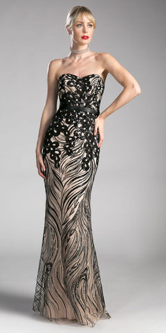 ON SPECIAL LIMITED STOCK - V Neck Sleeveless Beaded Bodice Black Nude Prom Gown