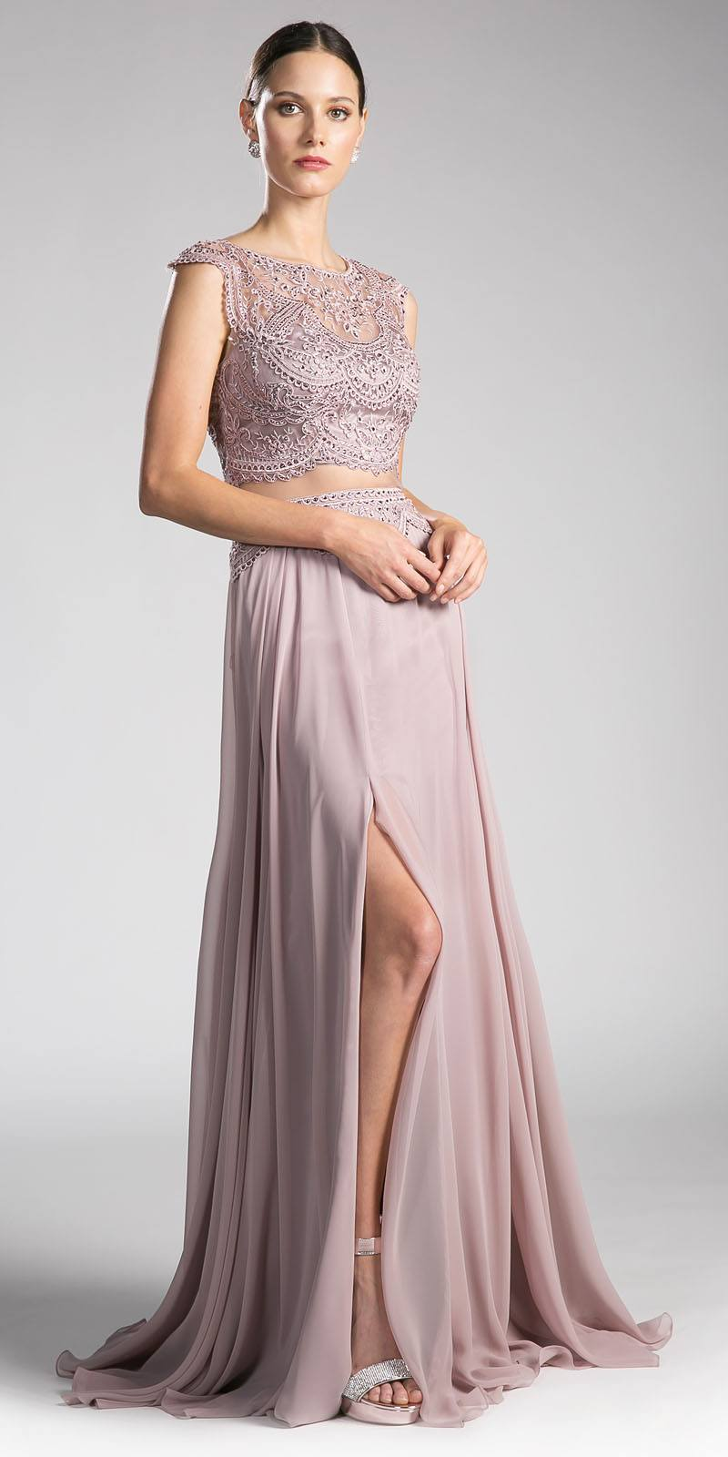 Cinderella Divine CD0113 Mauve Illusion Beaded Formal Gown Cap ...