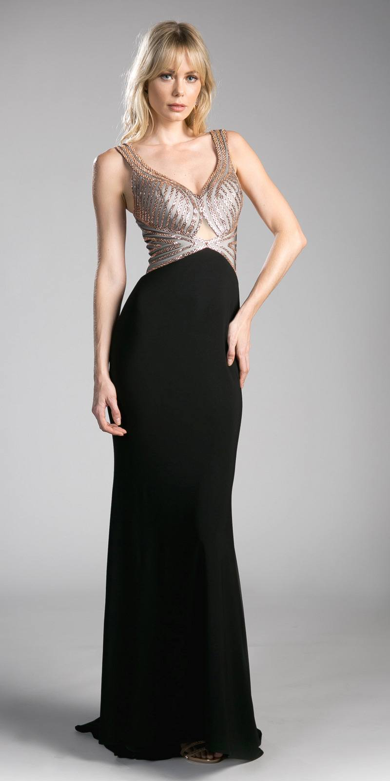 d3ca5ea1ba Cinderella Divine CD0114 Cut-Out Back Evening Gown with Plunging ...