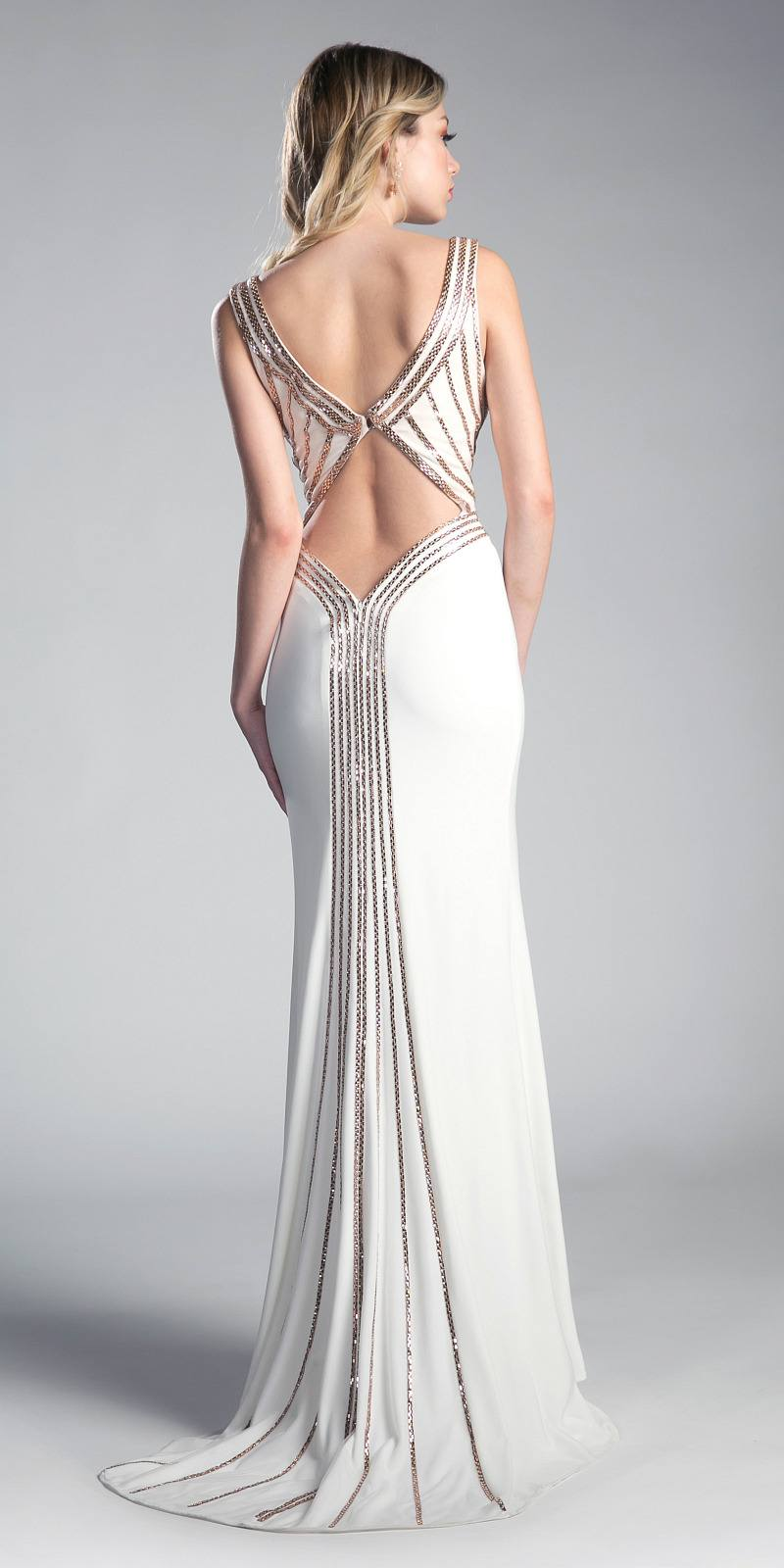 Cinderella Divine CD0114 Cut-Out Back Evening Gown with Plunging ...