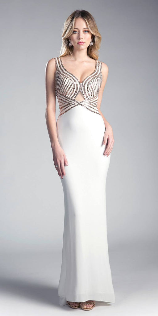 Cut-Out Back Evening Gown with Plunging Neckline Off-White/Gold
