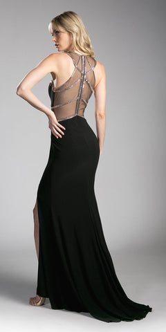 Black/Gold Prom Gown Sheer Cut-Out Bodice with Slit