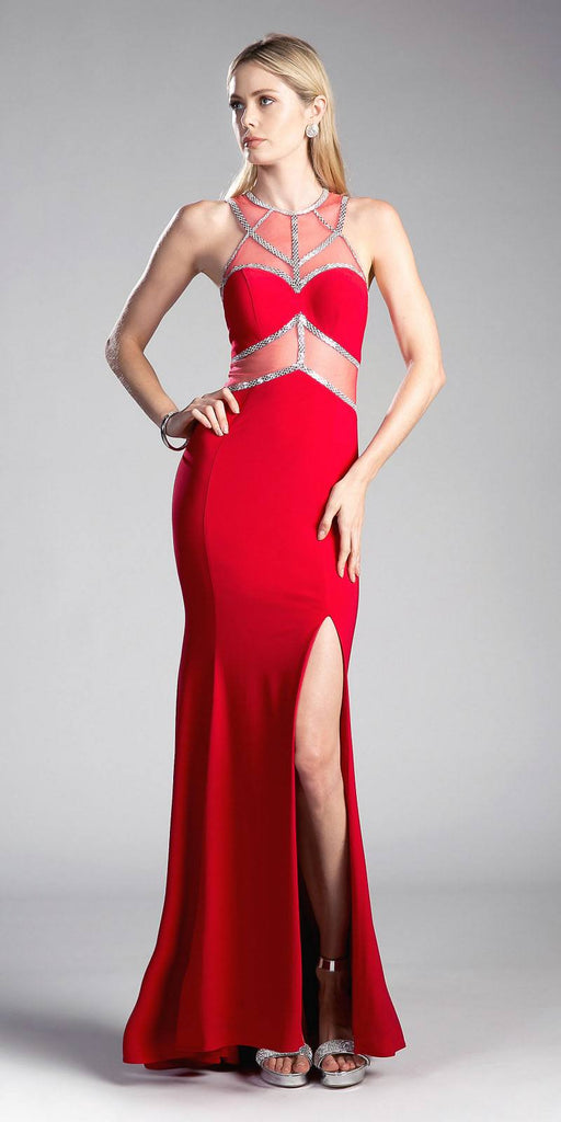 Red/Silver Prom Gown Sheer Cut-Out Bodice with Slit