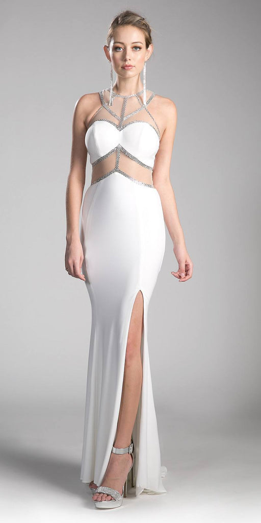 White/Silver Prom Gown Sheer Cut-Out Bodice with Slit