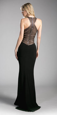 Black/Gold Full Length Prom Dress with Illusion High Neckline