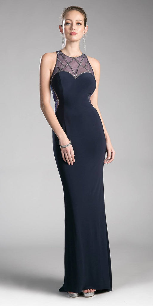 Navy-Blue/Gray Full Length Prom Dress with Illusion High Neckline
