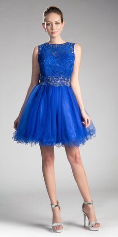 Royal Blue Lace Beaded Short Homecoming Dress Sleeveless