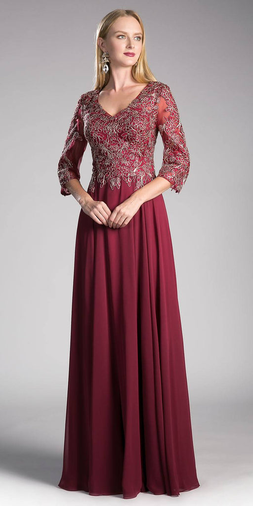 Burgundy Long Formal Dress Mid-Sleeve Appliqued