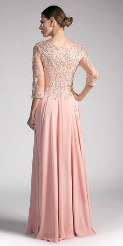 Dusty Rose Long Formal Dress Mid-Sleeve Appliqued